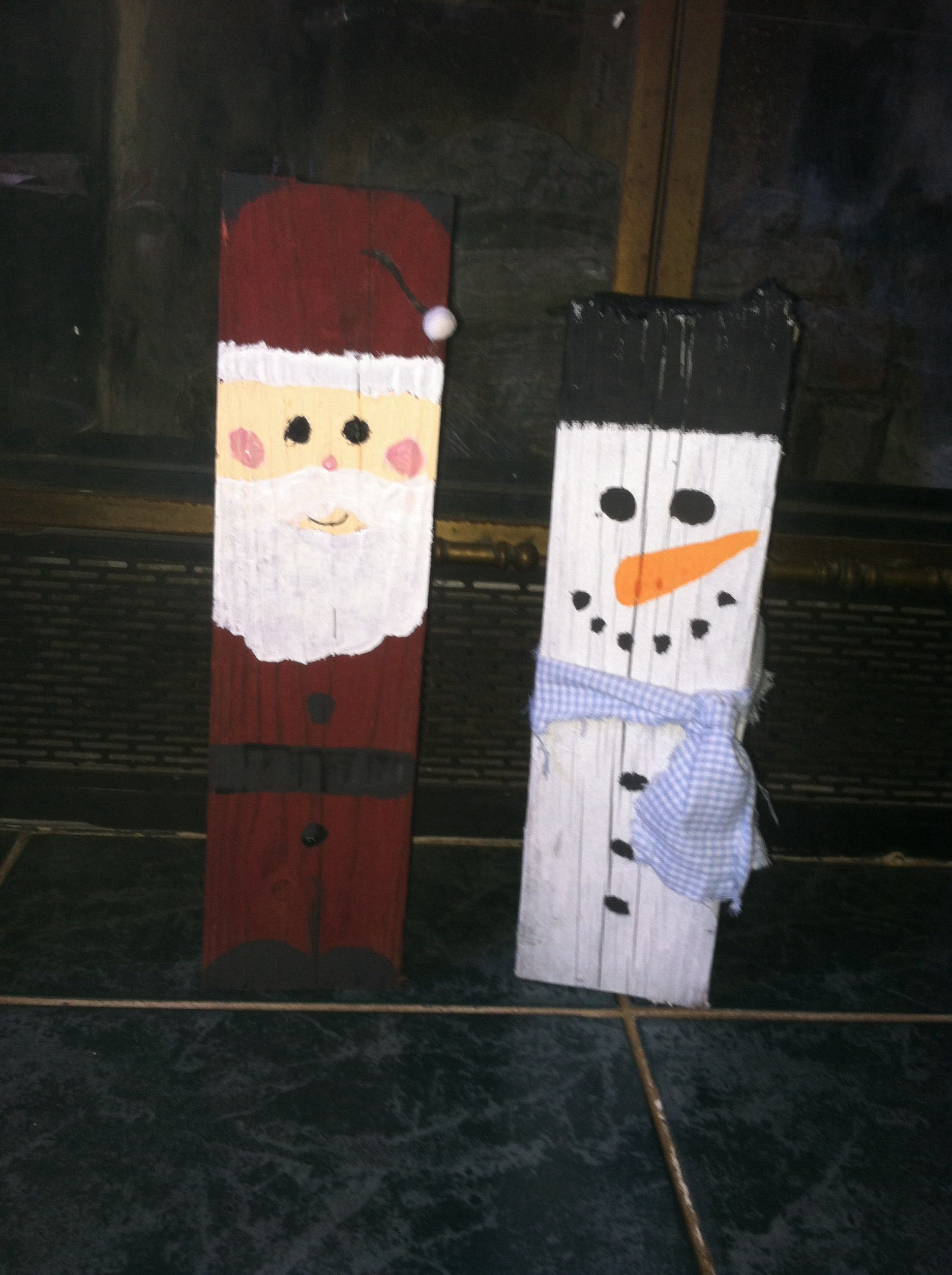 4X4 Painted Santa And Snowman Diy Christmas Projectschristmas Blocksholiday Craftschristmas