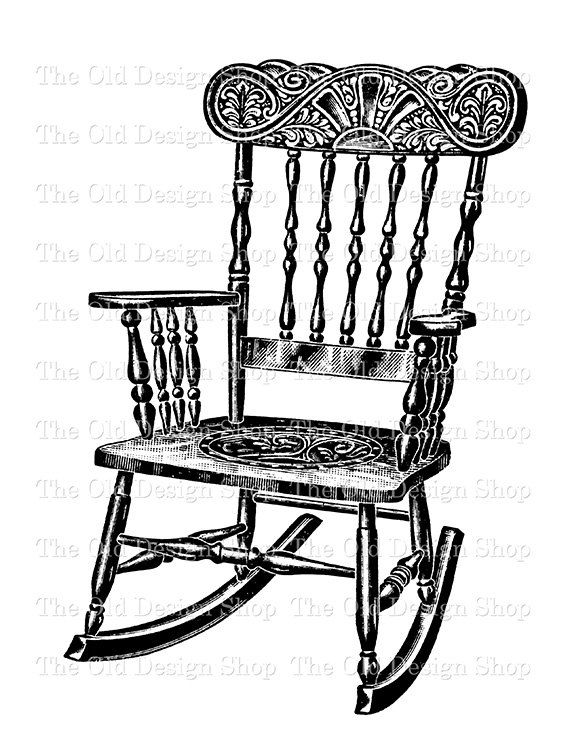 Antique Rocking Chair Digital Graphic Clip Art By TheOldDesignShop