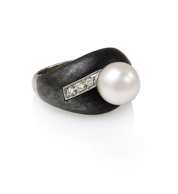 marsh jewelry   MARSH and CO. Steel and Pearl Ring at 1stdibs