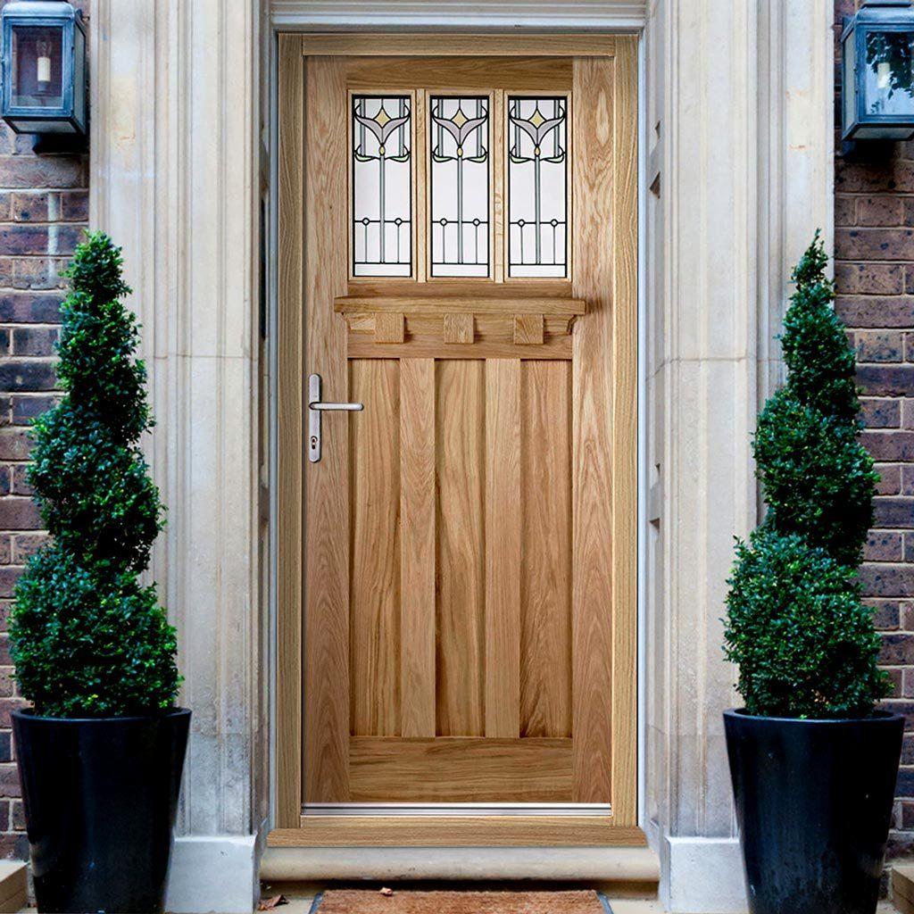 Tuscany External Oak Door with Tulip style Tri Glazing External