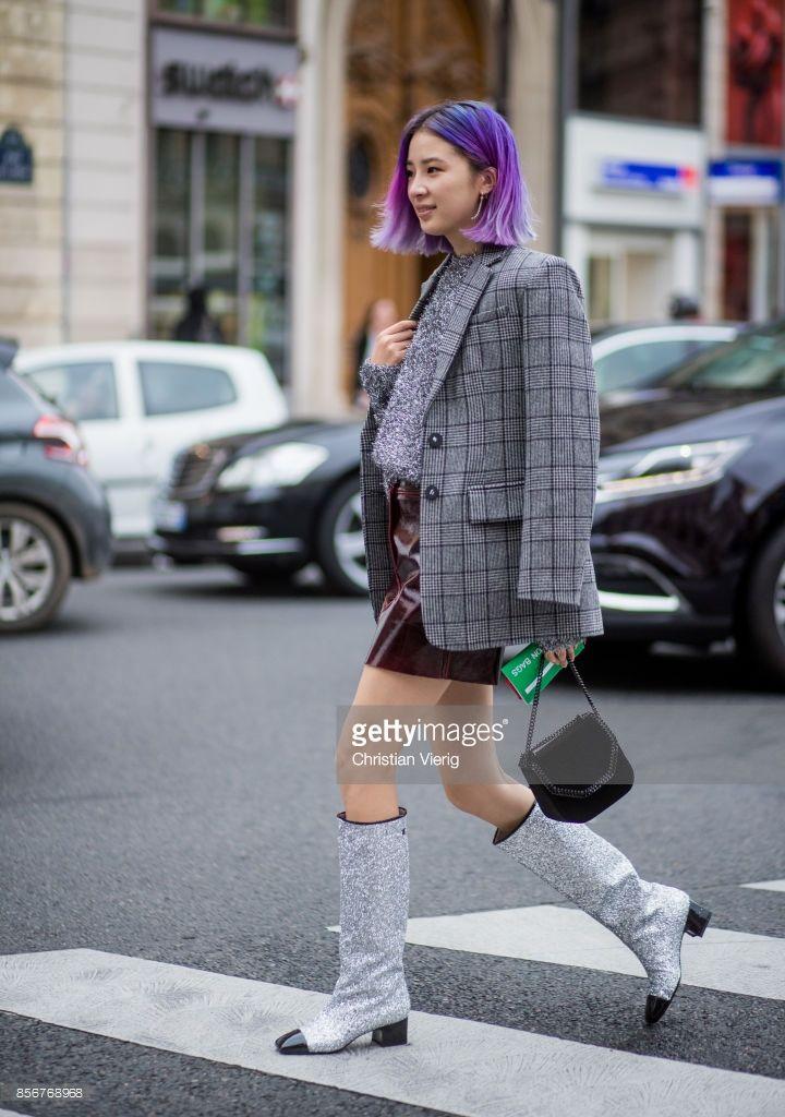 chanel glitter boots. irene kim wearing checked blazer, glitter chanel boots, stella mccartney bag seen outside boots