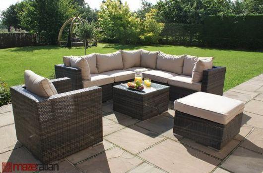 Maze Rattan London Corner Sofa Set with Armchair Garden Furniture ...