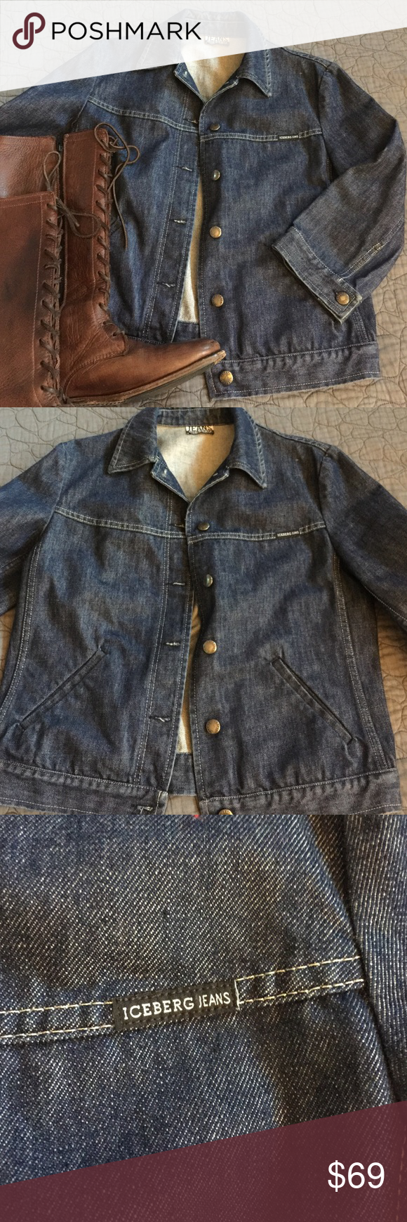 Iceberg Jean Jacket Made In Italy Iceberg Jeans Clothes Design Jean Jacket [ 1740 x 580 Pixel ]