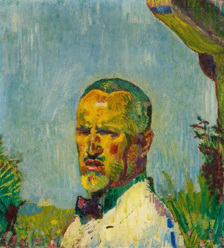Cuno Amiet (Swiss, 1868-1961), Selbstbildnis im Garten [Self-portrait in a garden], 1921. Oil on canvas, 59.8 x 55 cm.