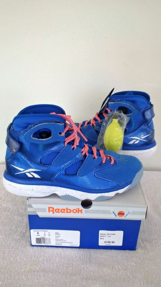 950231353377 Reebok Shaq Attaq Insta-Pump 4 IV White Blue New Men S Basketball Shoes Sz  9  Reebok  BasketballShoes