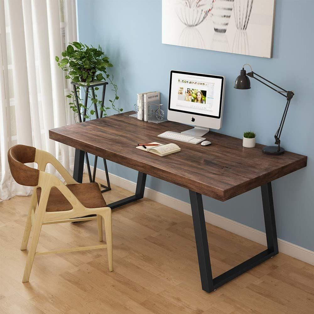 55 Rustic Solid Wood Computer Desk Vintage Industrial Home Office