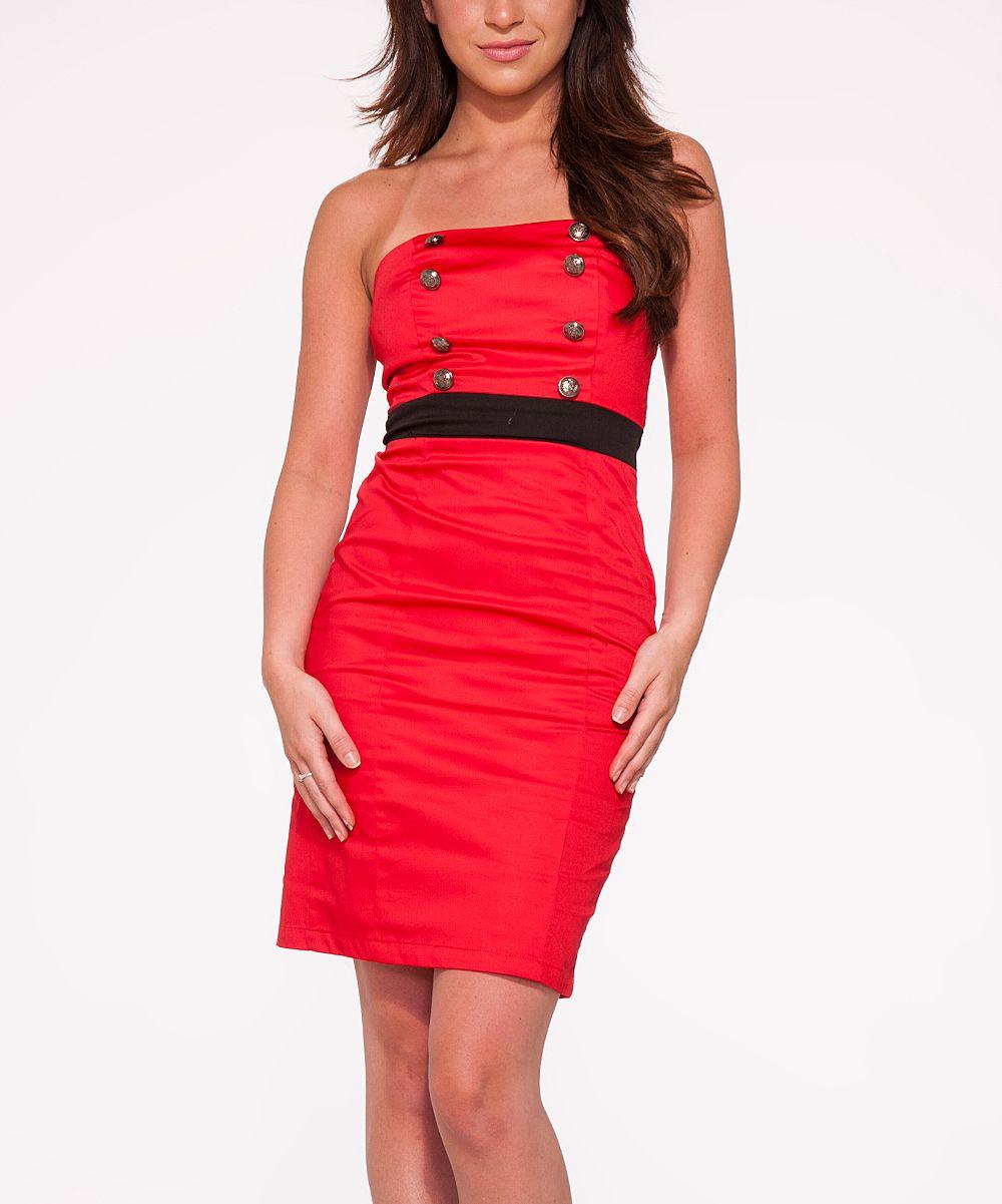 Hearts u roses london red u black sailor strapless dress plus too