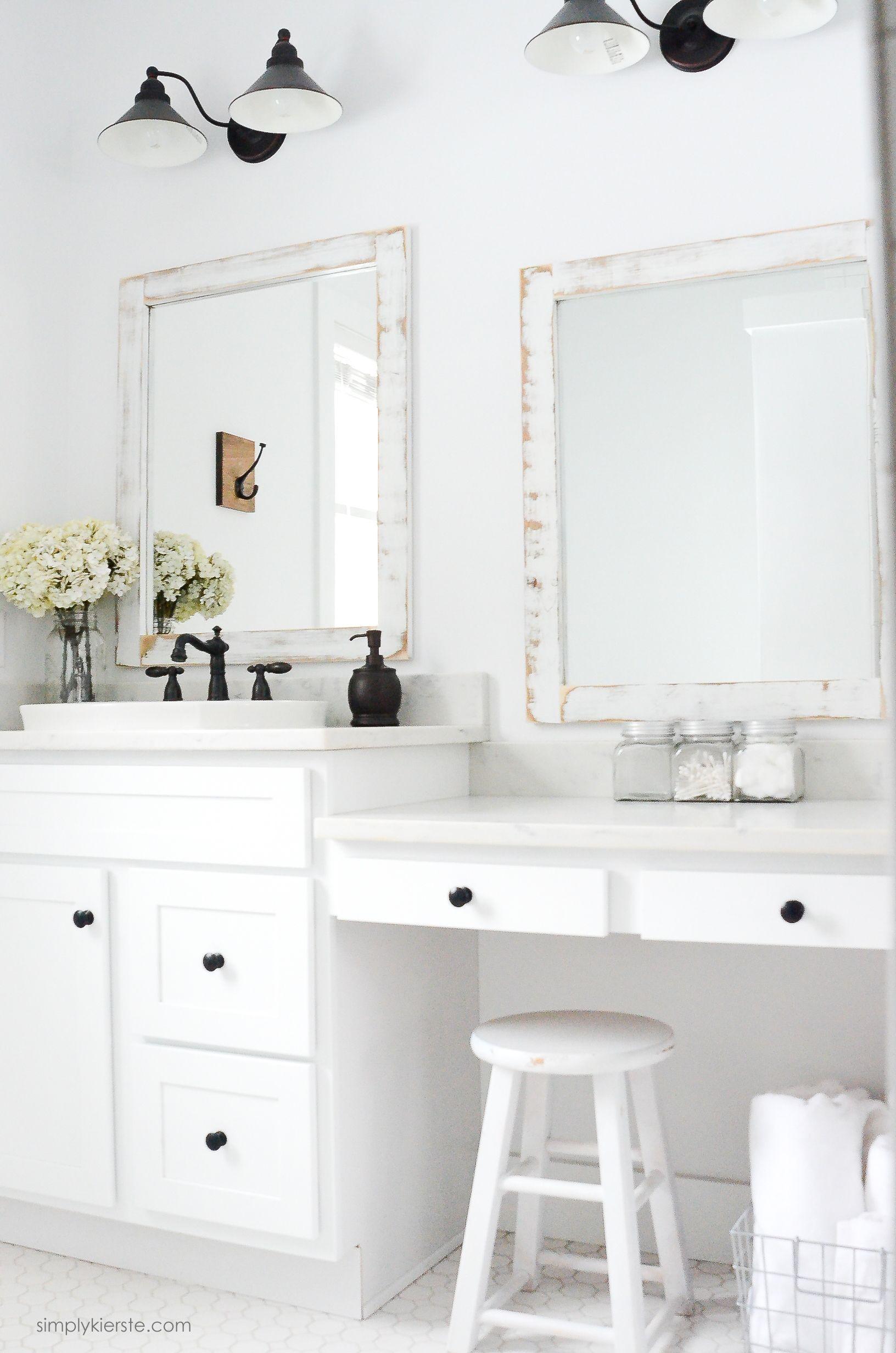 Farmhouse Bathroom + DIY Framed Mirrors   Bathroom mirrors, Diy ...
