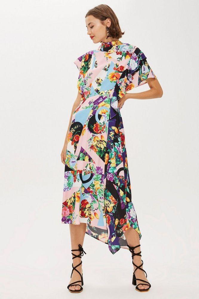 ff5fe623ac TOPSHOP Multi Floral Print Cowl Back Midi Dress UK 14 RRP £49 in ...