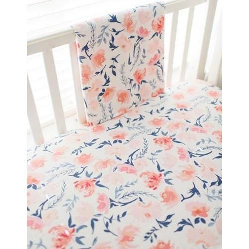 Crib Sheet Floral Rosewater In Peach Floral Crib Sheet Baby