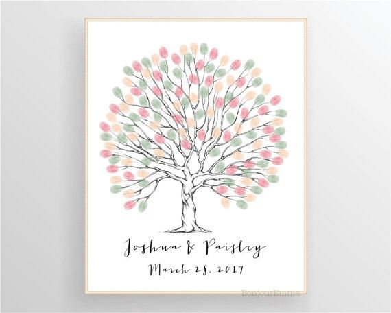 Fingerprint Tree Guest Book, Wedding Tree, Wedding Guestbook ...