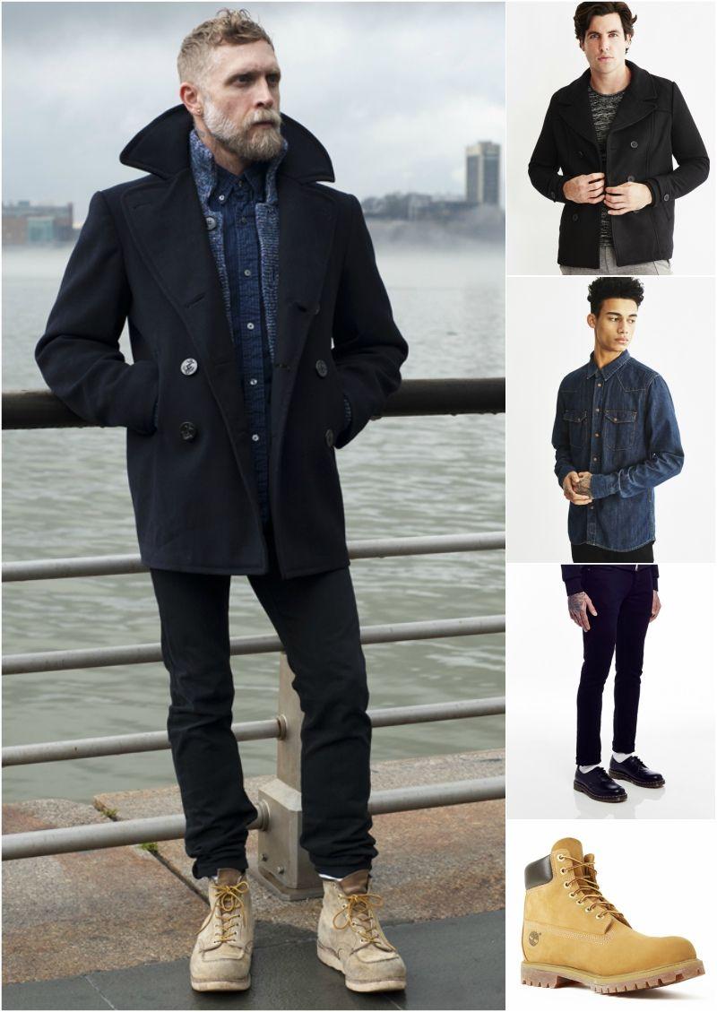 Mens pea coat how to wear