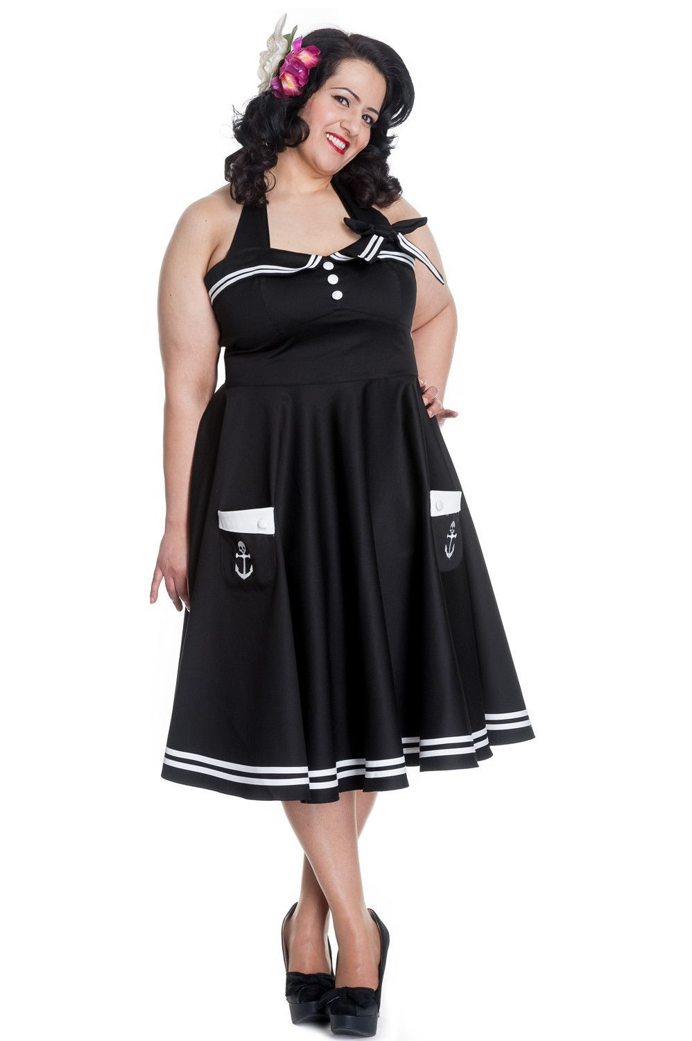 Hell Bunny Womens Plus Size 60s Motley Pinup Vintage Halter Black