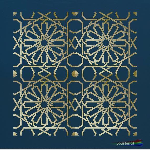 Marokkanische Fliesen Schablone für Wände und Möbel ST27R