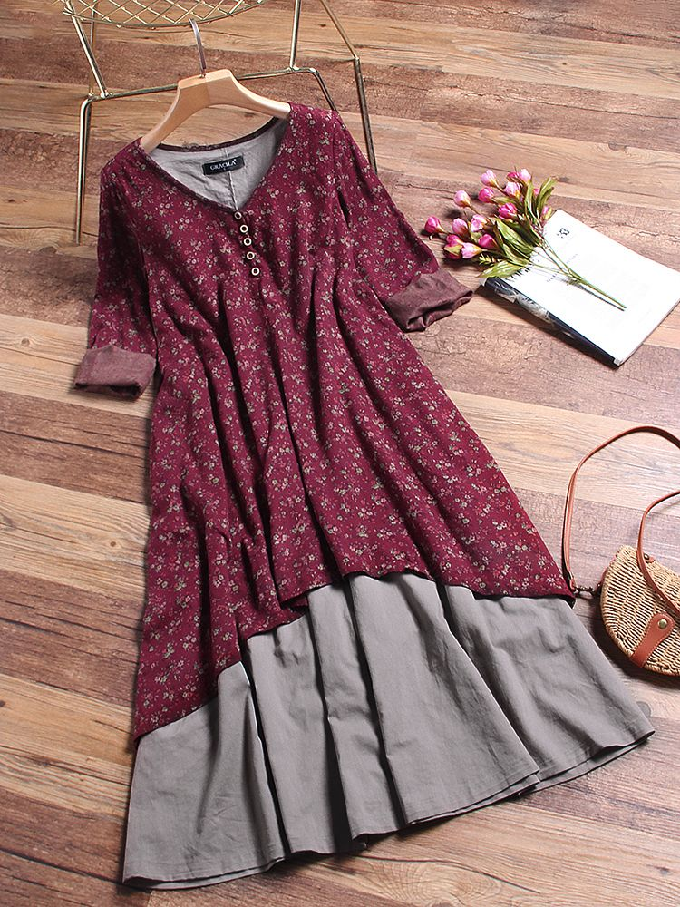 0e891bfea7960 Floral Printed Two Layers Long Sleeve Vintage Dresses Online - NewChic  Mobile