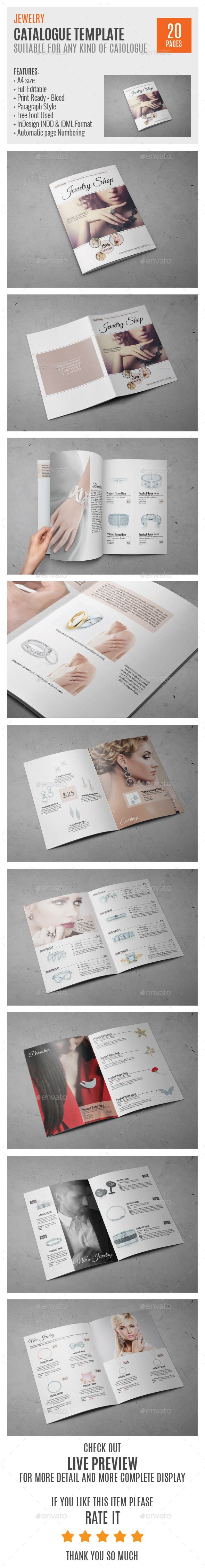 Jewelry A4 InDesign Catalog Template HP0011 | Pinterest
