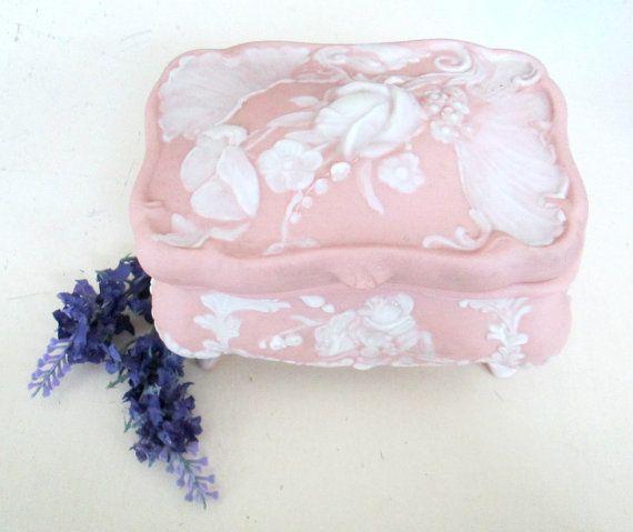 Pink Jasperware Jewelry Trinket Box Footed by looseendsvintage