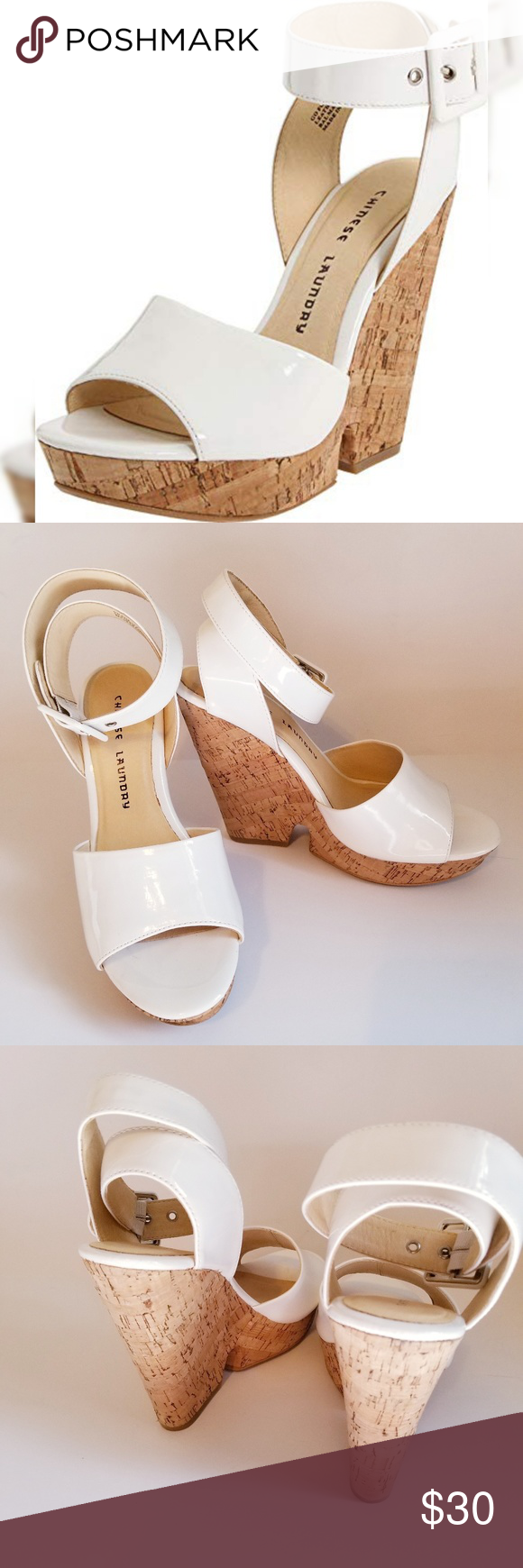 Chinese Laundry White Cork Wedge Heel Chinese Laundry White Cork