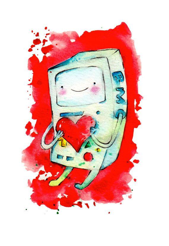 New BMO Valentine Mini Print 5x7 inch inch inkjet print / Adventure Time Fan Art