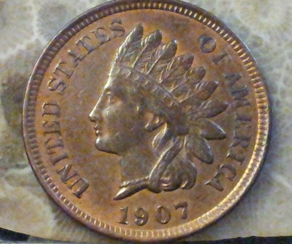 1907 1C RB Indian Cent BOLD LIBERTY, GREAT TONING sharp details