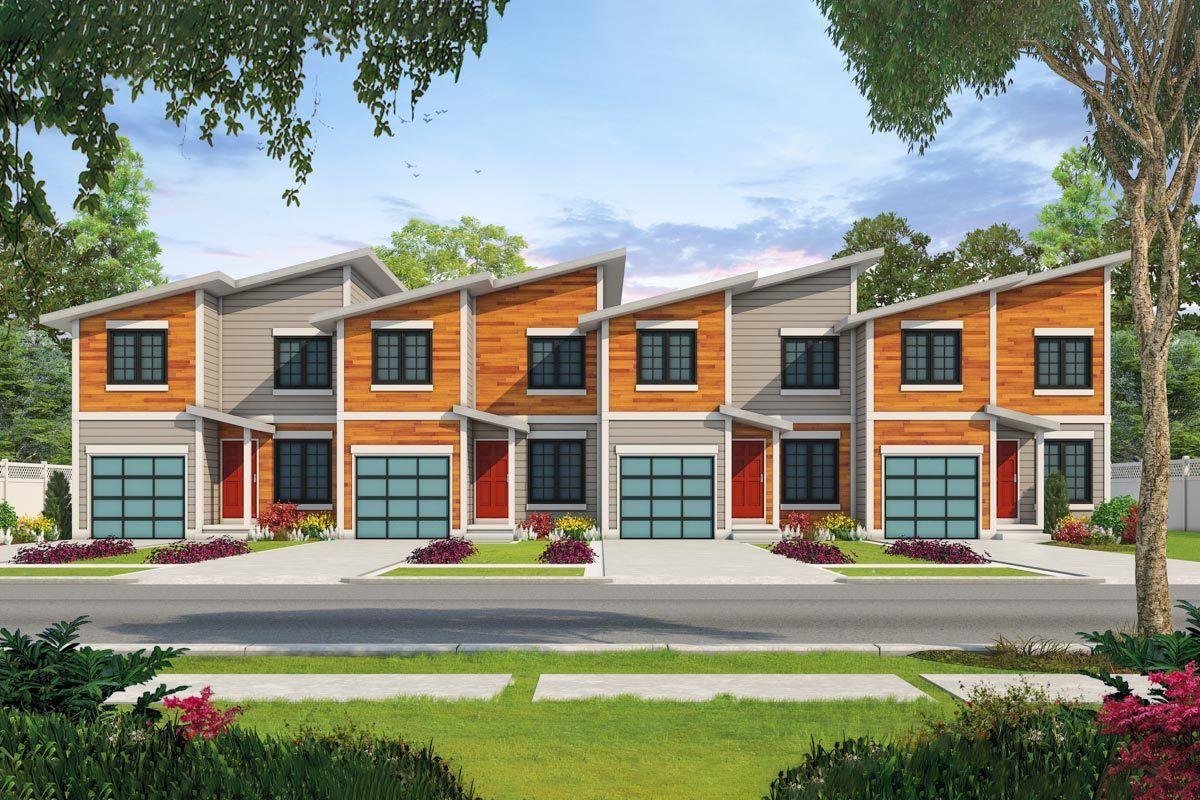 Plan 42600db Modern 4 Plex House Plan With 3 Bedroom Units Town House Plans Duplex House Plans Family House Plans