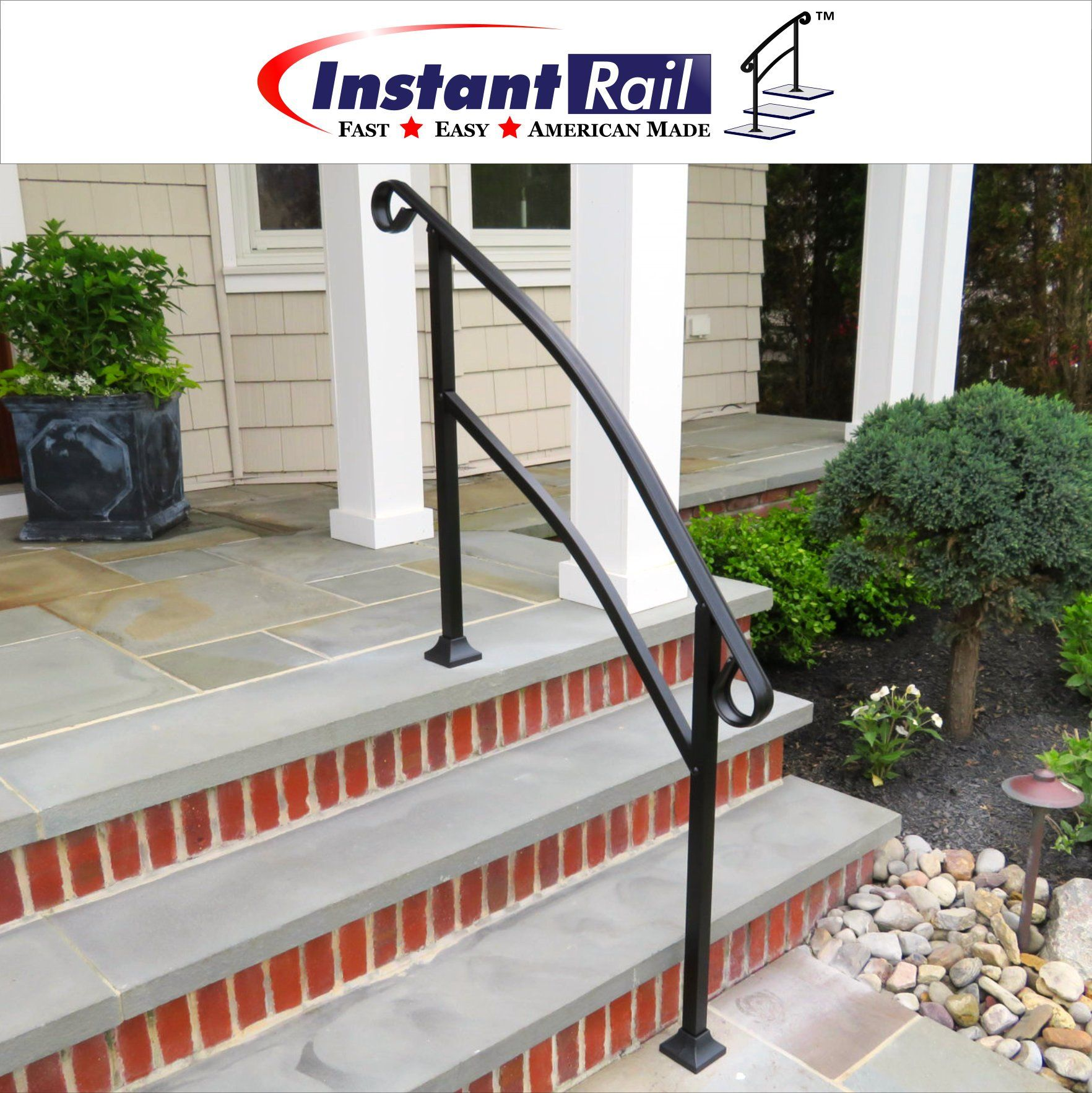 Instantrail 4 Step Adjustable Handrail For Concrete Steps   Handrails For Concrete Steps   Deck Stair   Ada   Wood   7 Hand   Concrete Entrance