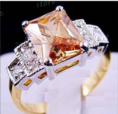 Women's 10K White and Yellow Gold Filled Champagne Topaz Ring - Size 9