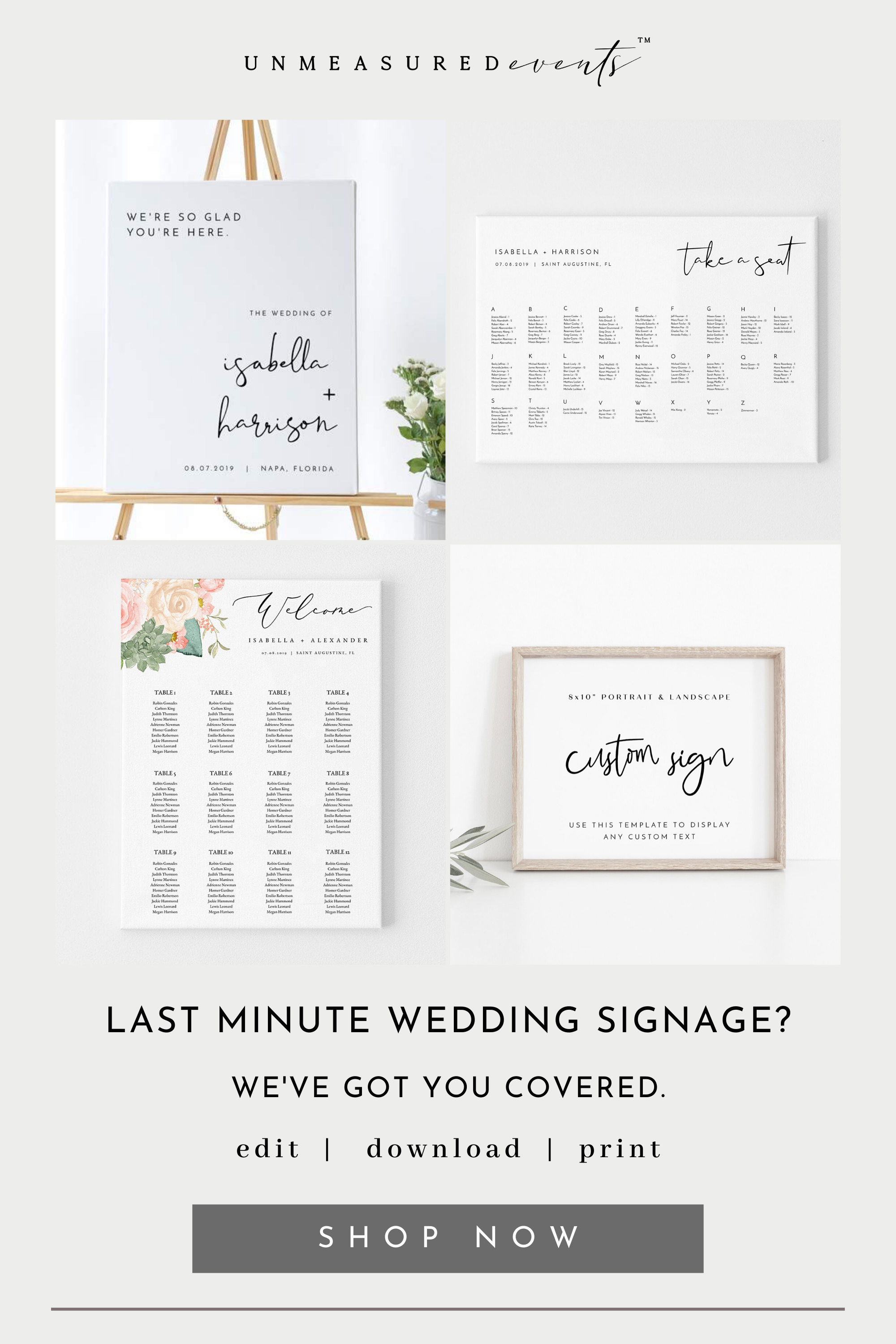 Instant Download Wedding and Event Signage Printables for the DIY Bride #diygarden