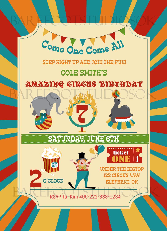 Circus Birthday Invitation, Carnival Birthday Invitation, Vintage ...