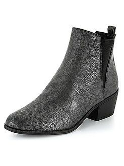 Boots Bottines Noir Boots En Simili Effet Craquele Kiabi I