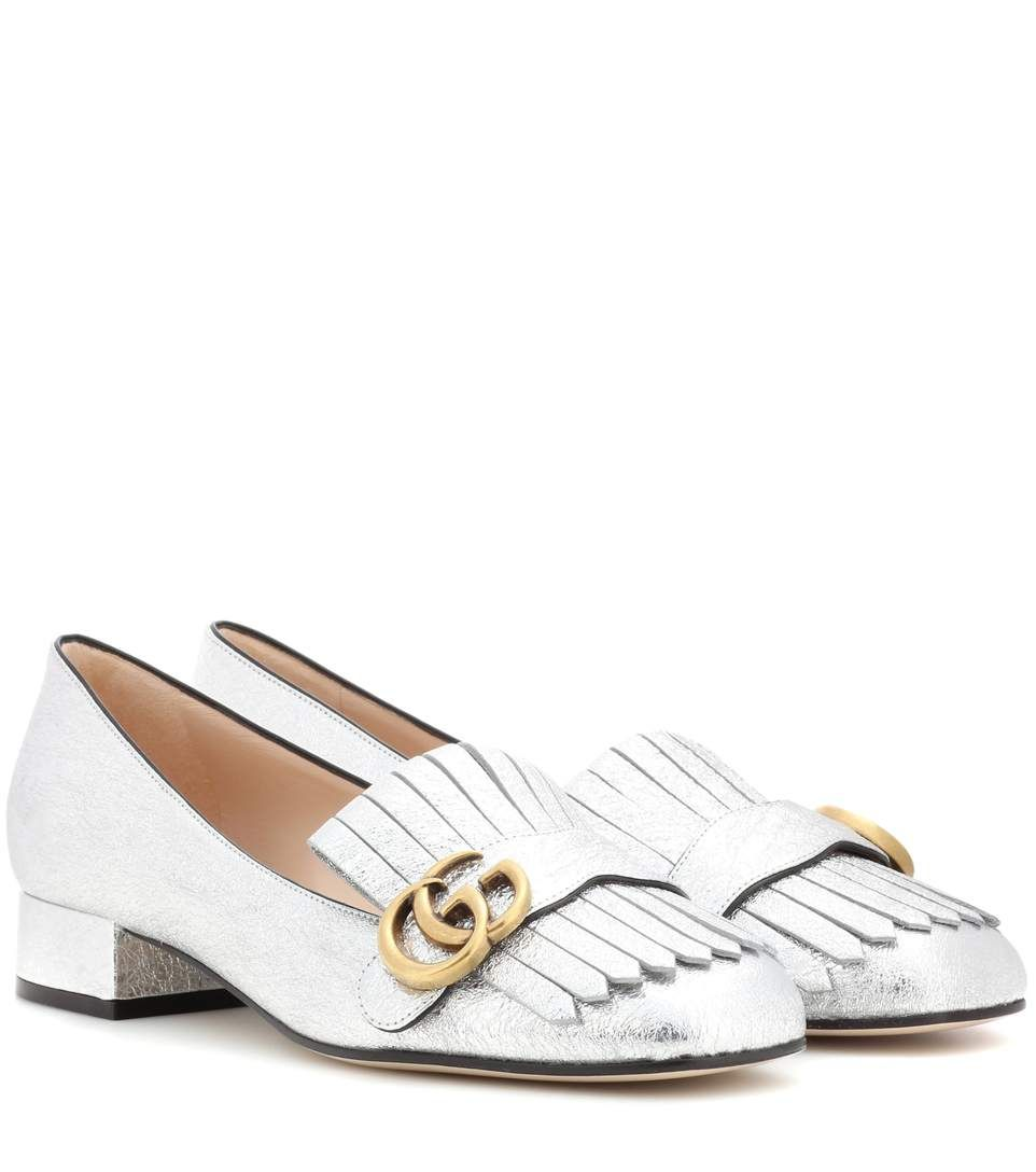 12b05228b18 GUCCI Metallic Leather Loafer Pumps.  gucci  shoes  pumps