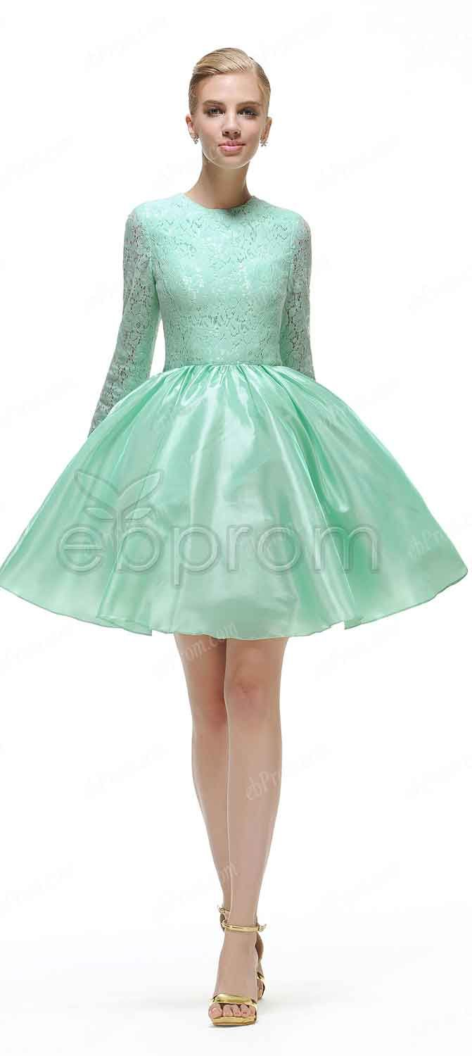 Mint green short prom dresses long sleeves | Mint green shorts ...