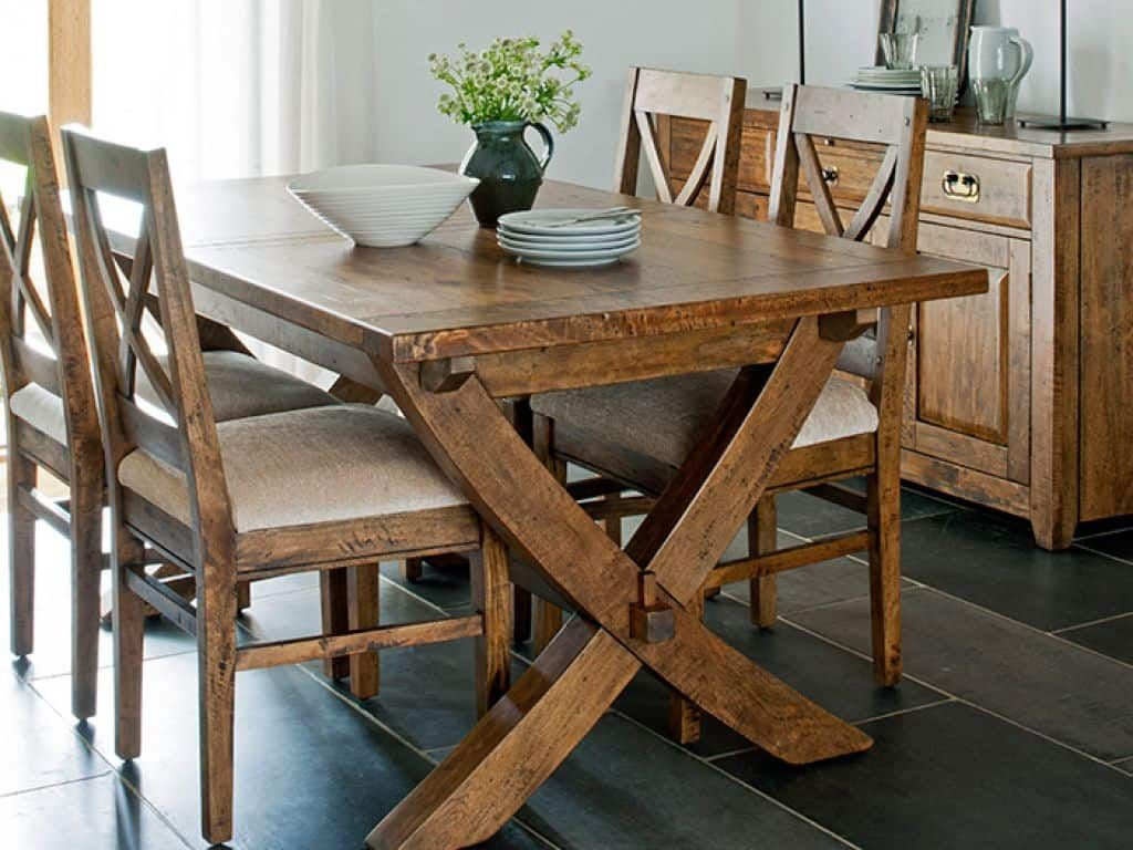 Eco Friendly Mango Wood Furniture Rustic Kitchen Tables Mango
