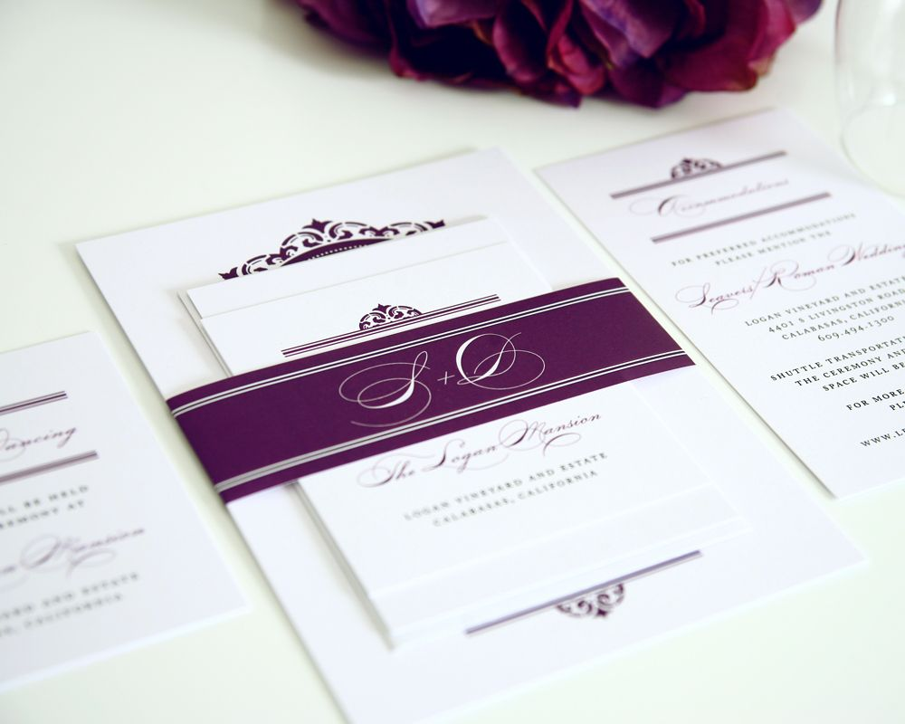 California Damask Wedding Invitations | Purple wedding, Purple ...