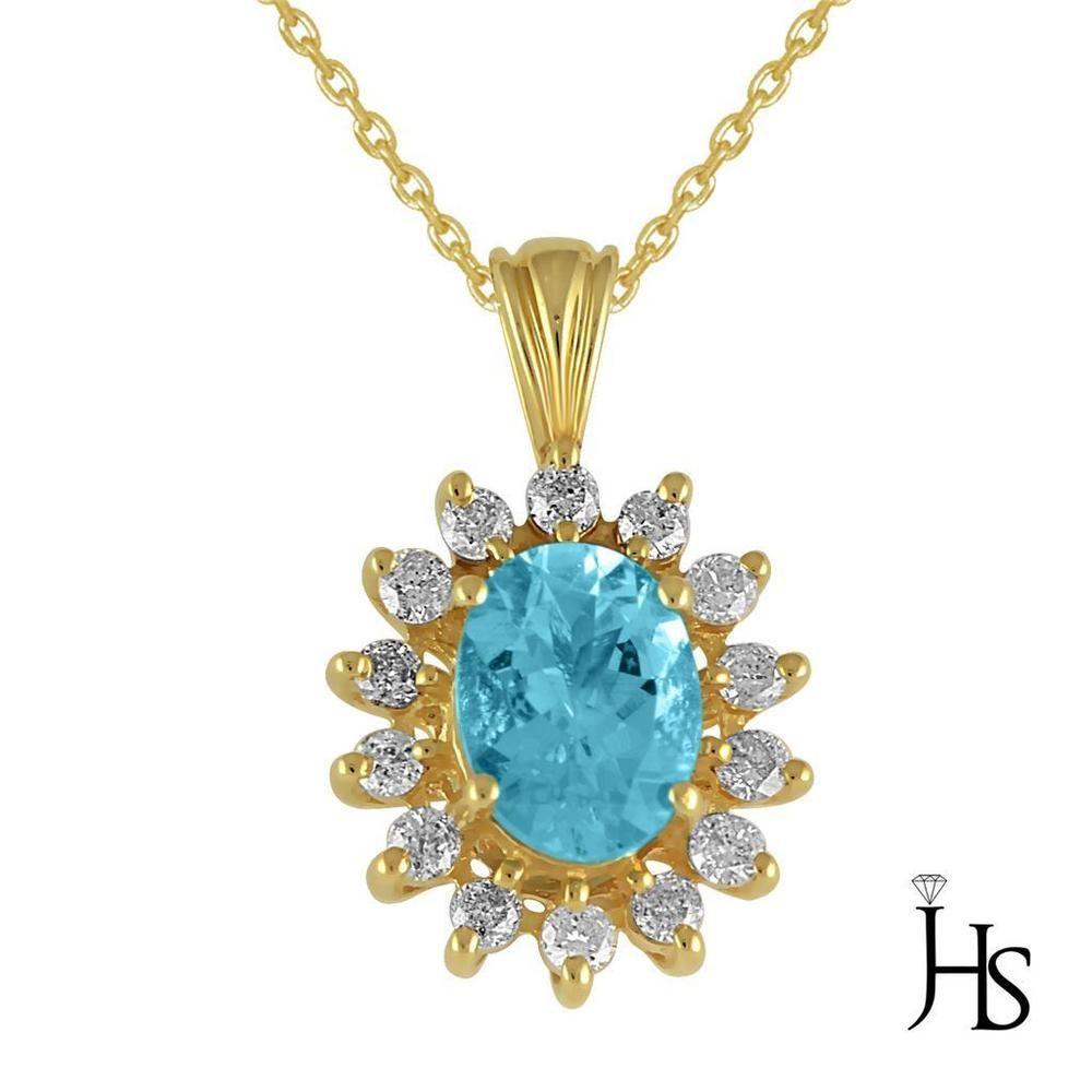 K yellow gold ct round diamond with oval aqua marine necklace