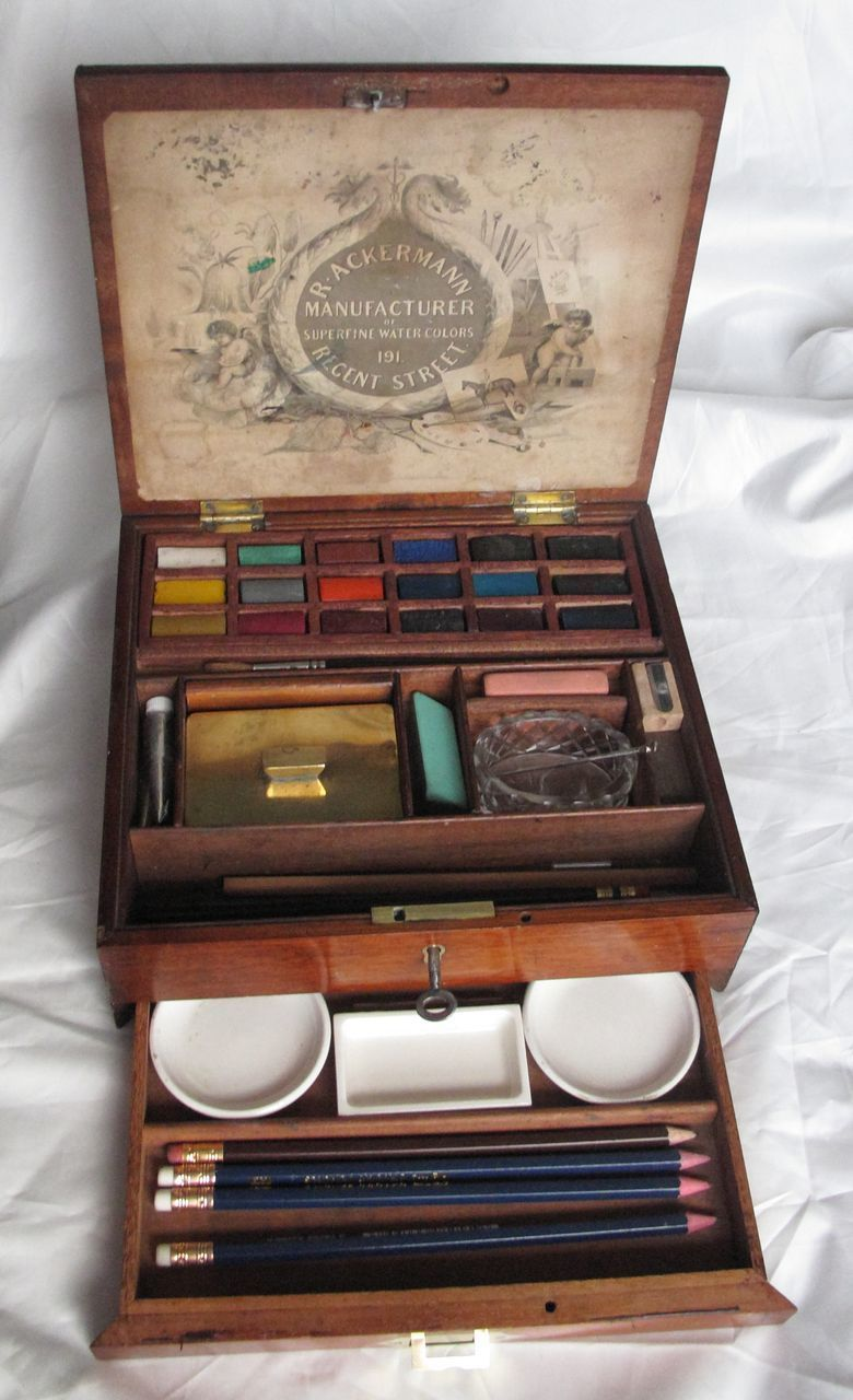 Antique Water Colour Color Paint Box R Ackerman C 1875 Mahogany