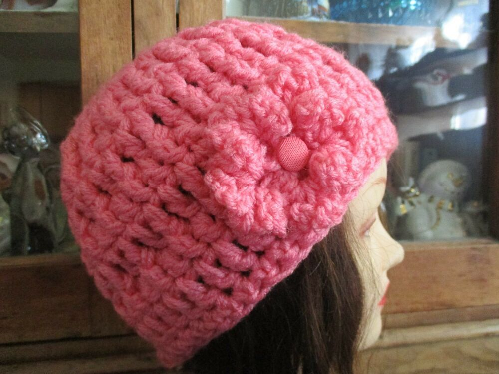 a9d0f9507c5 Crocheted Handmade Women Melon hat beanie cloche Heavy Yarn Attached Flower  H114  fashion  clothing  shoes  accessories  womensaccessories  hats (ebay  link)