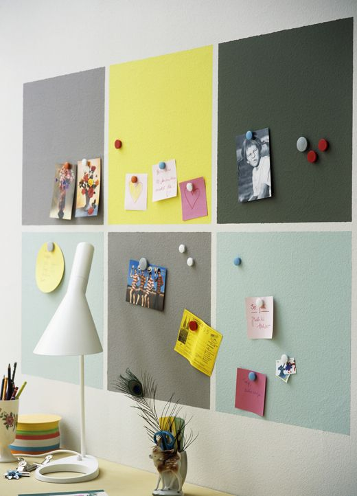 Magnetic paint bulletin board - this is really cool. I want to try ...