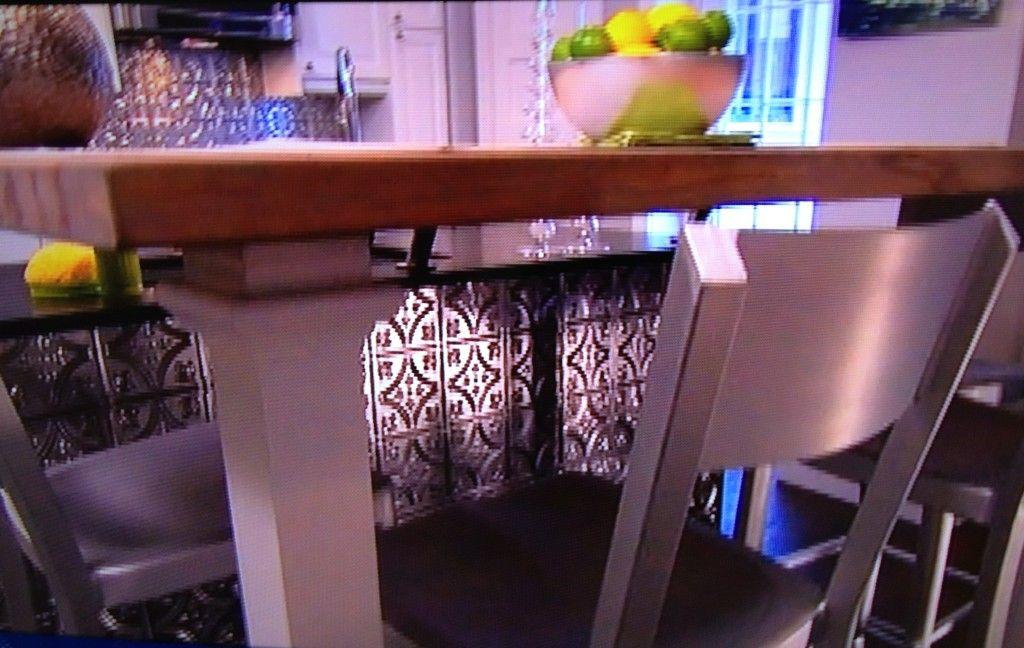 Tin Backsplash Amp Kitchen Island On Property Brothers Tin