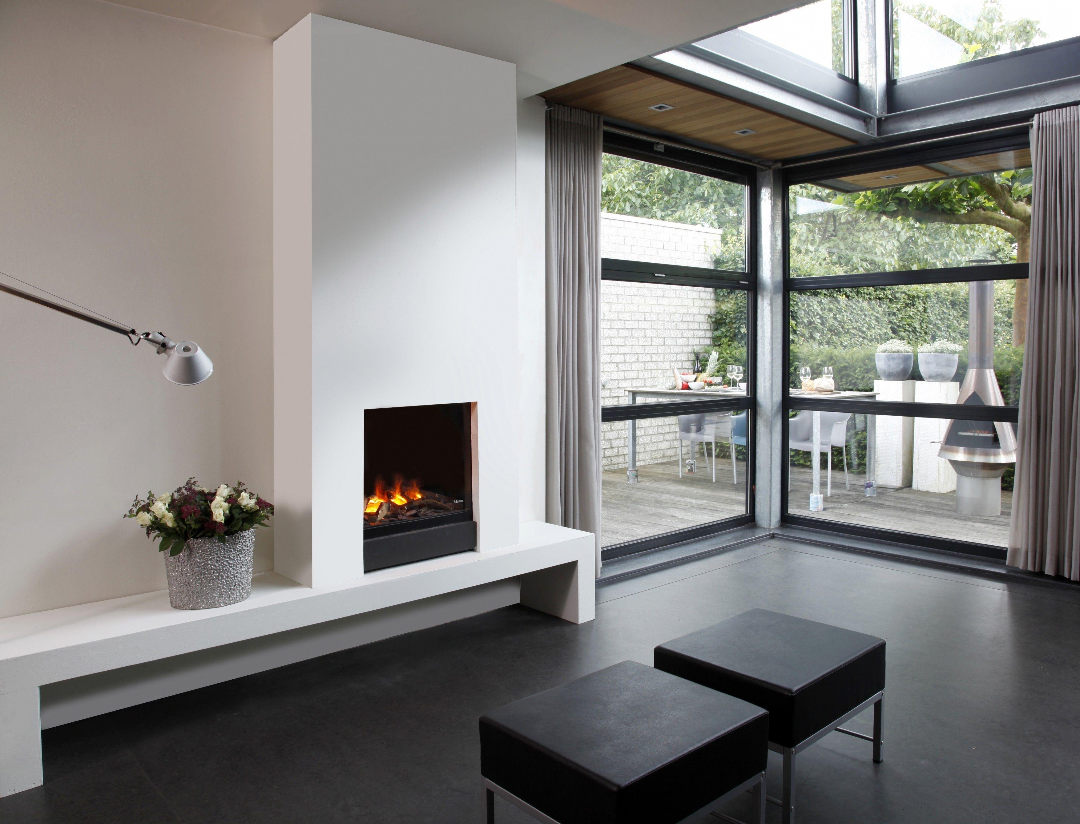 Wohnzimmer des modernen interieurs des hauses frameless inbouwhaard  interieur  pinterest