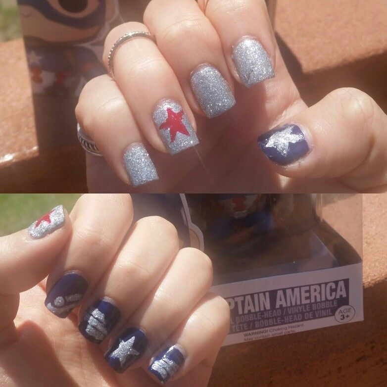 Marvel nails! Top are Winter Soldier (bucky barnes) themed and ...