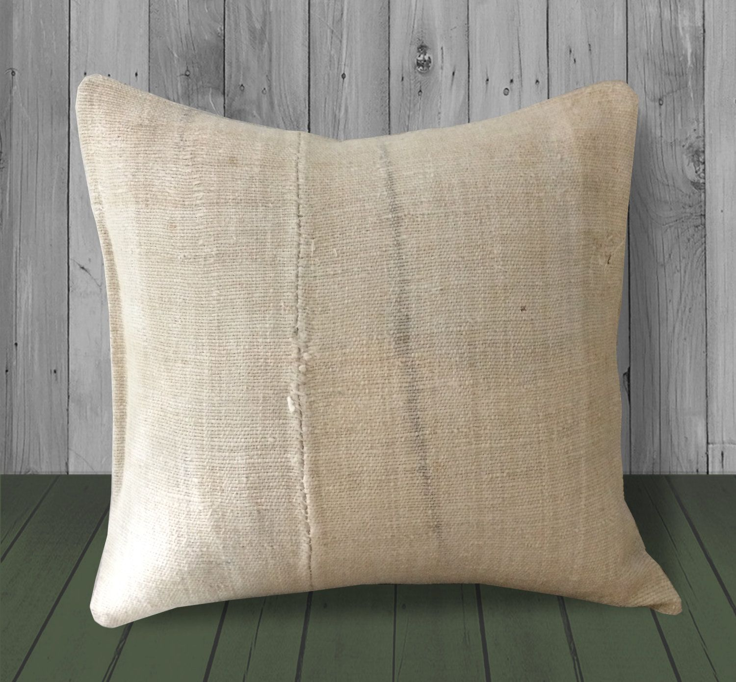 Cream Gray Hemp Pillow Cover 20x20