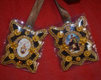 catholic, detente   Handmade Scapular Detente Big Virgin Carmel /Virgen Carmen Peru