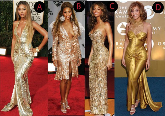 Pictures of celebrities in gold dresses
