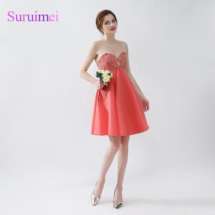 short orange and pink prom dress