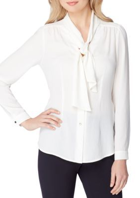 Tahari Asl Women's Long-Sleeve Bow Blouse - White - Xl