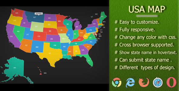 Interactive svg usa fully responsive & state name submitable map ...