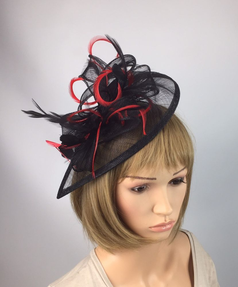 Red And Black Sinamay   Feathers Teardrop Fascinator Occasion Wedding Races   13db27d426e