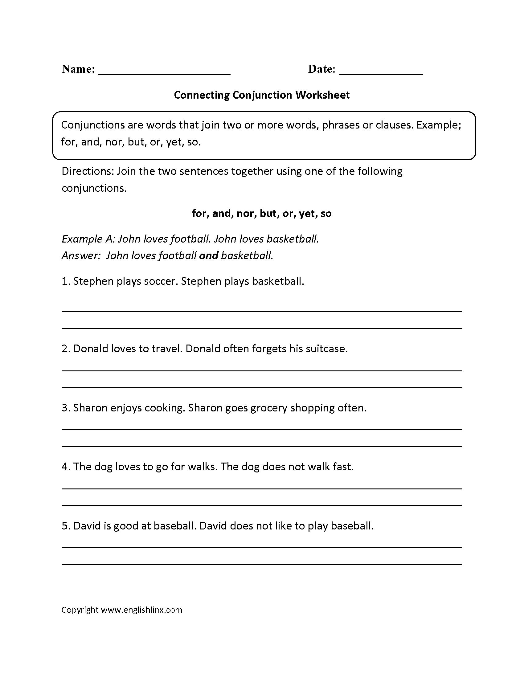 Connecting Conjunction Worksheets   Conjunctions worksheet [ 2200 x 1700 Pixel ]