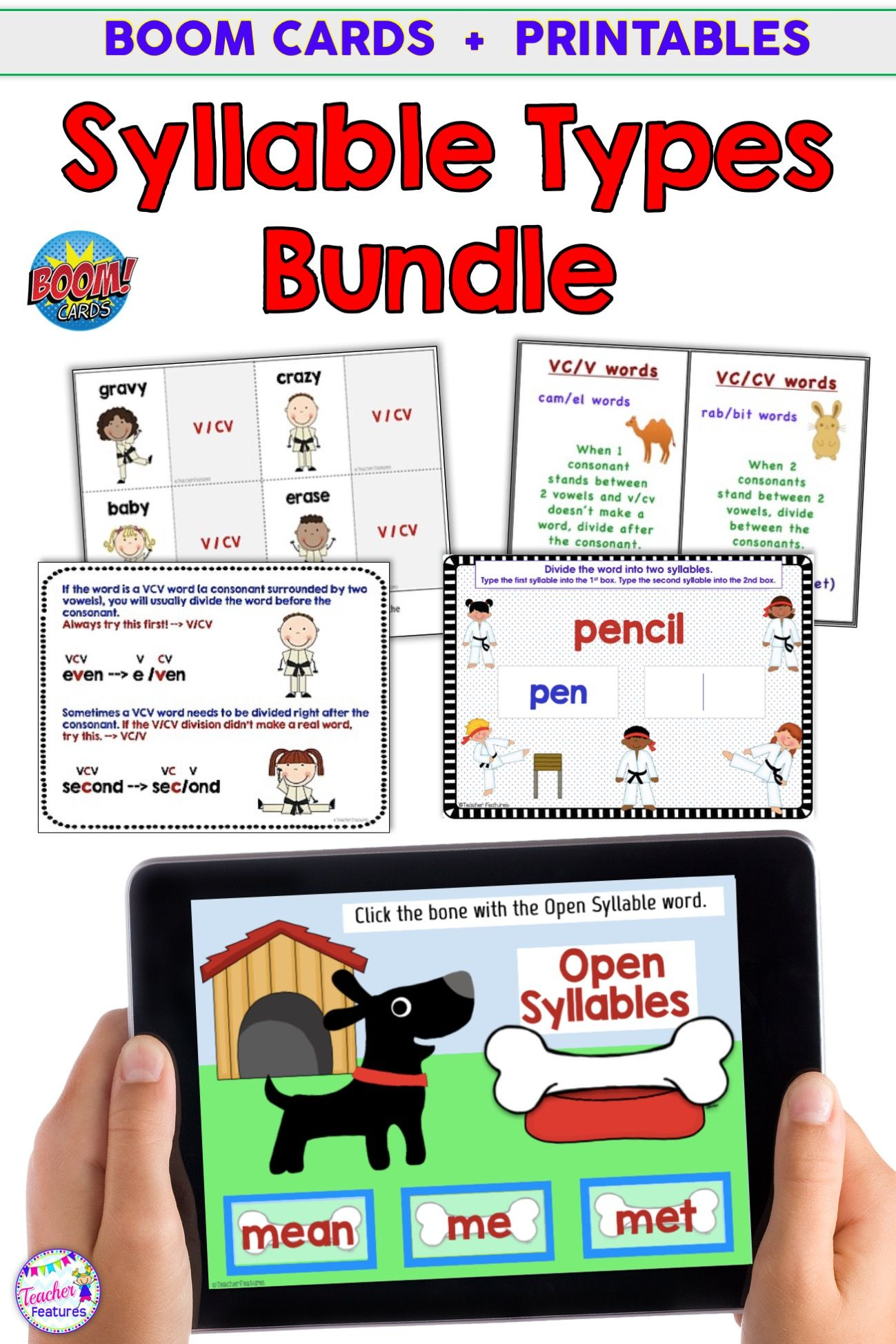 Boom Cards Syllable Types Amp Printables Open And Closed